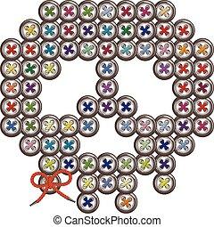 Decorative multi-colored skull sewn round buttons.