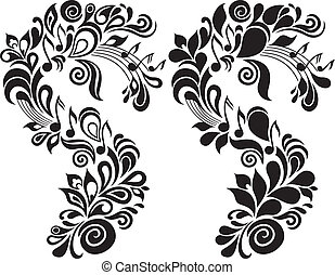 Decorative musical floral theme - Two b/w decorative vector ...