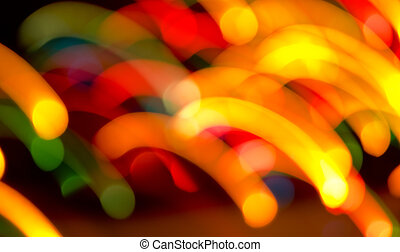 Decorative neon lights in soft focus and movement.