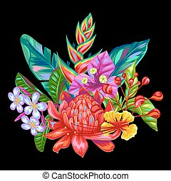 Decorative object with Thailand flowers. Tropical multicolor plants, leaves and buds