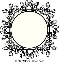 Decorative of card with leaf floral frame silhouettes. Vector