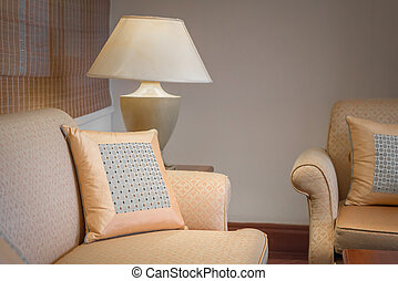 decorative of pillows on casual sofa in living room