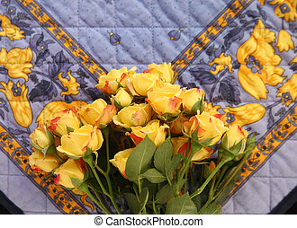 decorative old fabric with roses