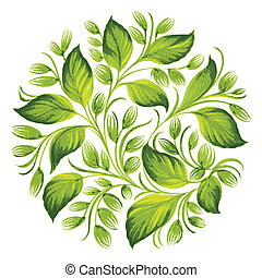 decorative ornament herbal circle - hand drawn illustration...