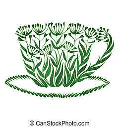 decorative ornament teacup - hand drawn illustration in...