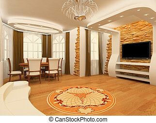 Decorative ornament with laminated flooring board and brick...