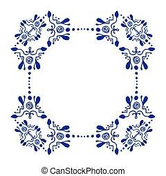Decorative ornamental border with corner. Ornate frame, rectangular outside, round inside