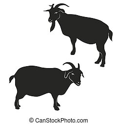 Decorative ornamental goats silhouette.