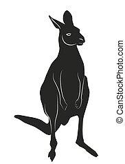 Decorative ornamental kangaroo silhouette.