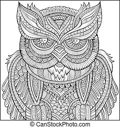 Decorative ornamental Owl background. - Decorative abstract...