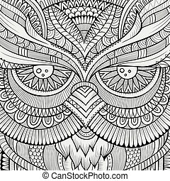 Decorative ornamental Owl background - Decorative ornamental...
