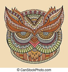 Decorative ornamental Owl head - Decorative abstract...
