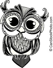 Decorative ornamental Owl. - Illustration
