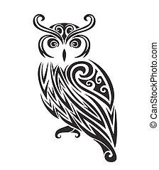 Decorative ornamental owl silhouette.