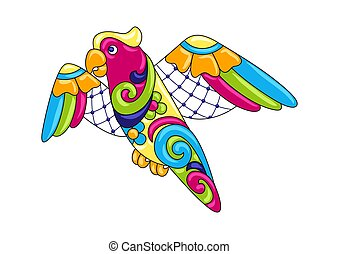 Decorative ornamental parrot. Mexican ceramic cute naive...