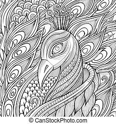 Decorative ornamental peacock background. - Decorative...