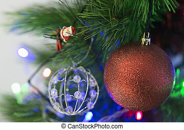 Decorative ornaments of a Christmas tree.