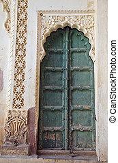 decorative ornate door in asia, Rajasthan, India