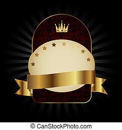 Decorative ornate golden vector frame on dark background