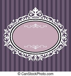 Decorative white frame on the retro background with space for your text, full scalable vector graphic for easy editing and color change