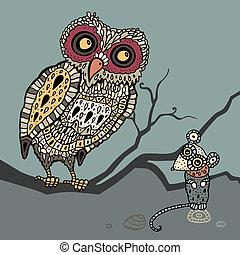 Decorative Owl and  Mouse. Cartoon illustration.