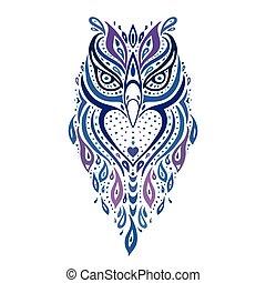Decorative Owl. Tribal pattern. Ethnic tattoo. Vector illustration