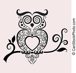 Owl with floral ornament decoration. Easy to edit color. Use for tattoo, t-shirt, or any design you want.