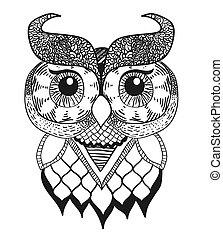 Decorative Owl - vintage illustration, hand drawn