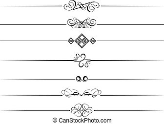 Decorative page dividers on a white background