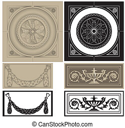 decorative pane set - Vector illustration of classic...