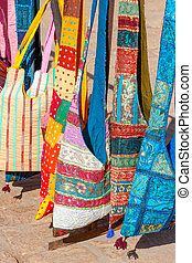 Decorative patchwork bags on a street market in Rajasthan, India