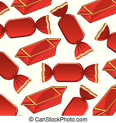 Decorative pattern from sweetmeats in red packing -...
