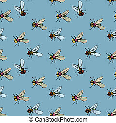 decorative pattern with flies