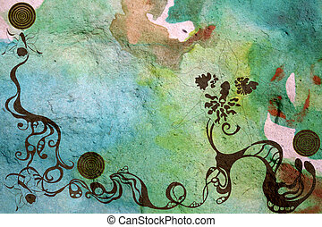 grungy background - Decorative patterns on a grungy...