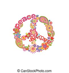 Decorative peace flower symbol