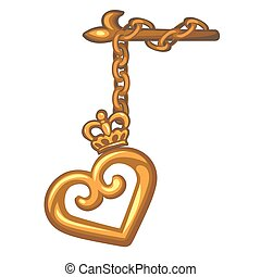 Decorative pendant on the curtain rod of a gold heart isolated on white background. Vector cartoon close-up illustration.