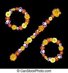 decorative percentage symbol from color flowers