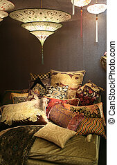 Luxury chair in interior decorative pillows