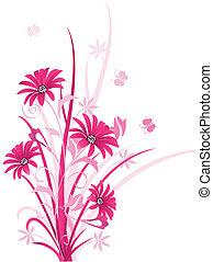 Decorative pink color floral background