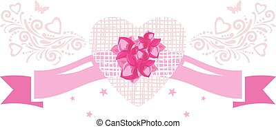 Decorative pink ribbon with flowers. Vintage element for festive design