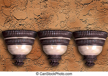 Decorative Planters Isolated on Stucco Background (Insert...