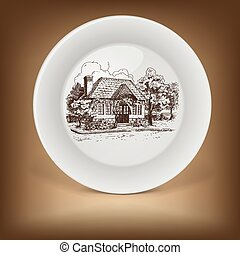 Decorative plate with drawing of old cottage.