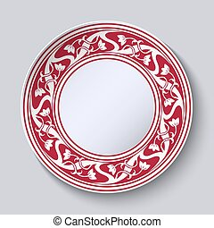 Decorative plate with empty space in the center. Red with white circular pattern in the style of Chinese painting on porcelain.