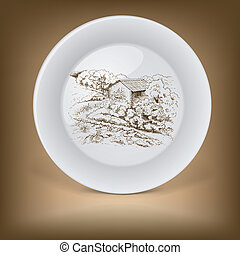 Decorative plate with image of farmhouse.