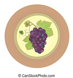 Decorative plate with red grapes vector