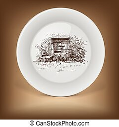 Decorative plate with rural landscape
