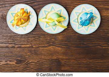 Decorative plates with Easter eggs