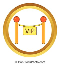 Decorative poles with tape for VIP vector icon