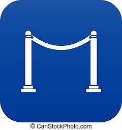 Decorative poles with tape icon digital blue