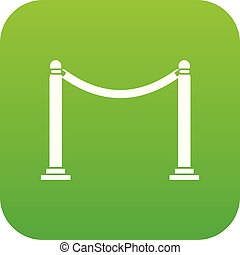 Decorative poles with tape icon digital green